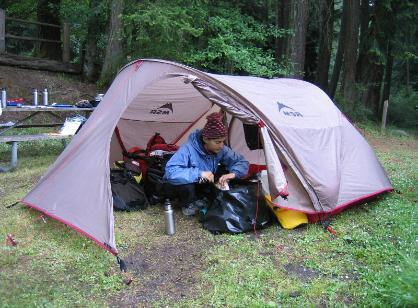 A view of the large vestabule of the MSR Velo Cycle (bicycle) touring tent : tent bike - memphite.com