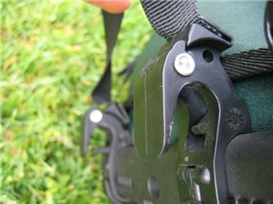 A closeup view of the Ortlieb mounting system in the open position