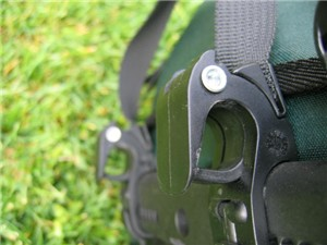 A closeup view of the Ortlieb Pannier Mounting System Closed