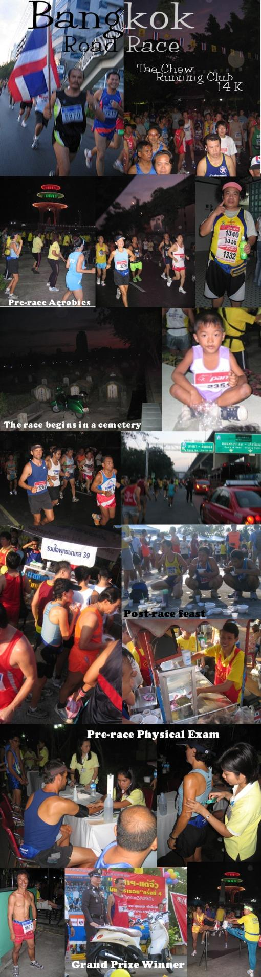 A photo collage from the Tae Chew Running Club 14K kilometer running roadrace in Bangkok, Thailand
