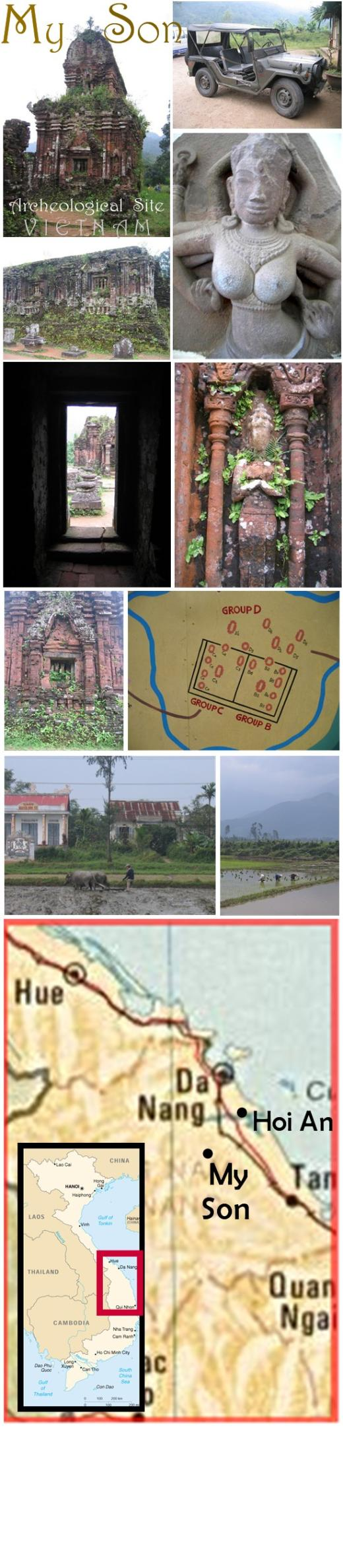 A photo collage from the My Son Archeological site near Hoi An, Vietnam with images of an American military jeep, many ruins and a map of the complex.