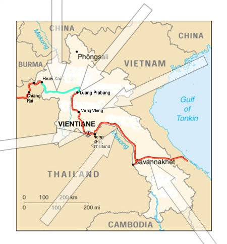 Cycle (Bicycle) Touring Route Map of Laos
