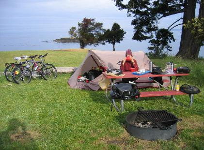 The MSR Velo Cycle Touring Tent at a camsite on San Juan Island