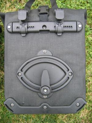 A view of the ortlieb mounting system on the back side of the Ortlieb Bike Packer Plus Pannier