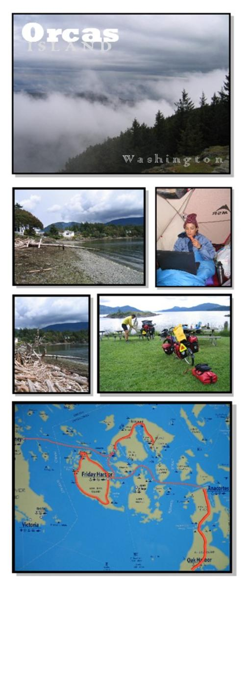 Photo collage and Map of Orcas Island, Washington